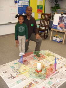 4-H Agent Marcus Boston completing 4-H Embryology at daughter's kindergarten class