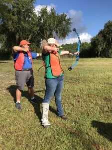 4-H Volunteers learn and practice the pre-shot routine so they can teach it to their youth.