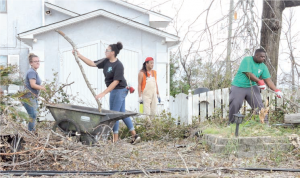 Youth cleaning up yard debris