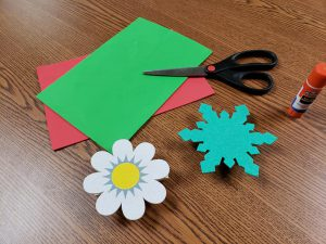 foam cut out and scissors for a craft activity