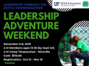 Social media flyer regarding Leadership Adventure Weekend information