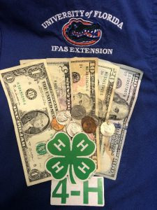 Money between the University of FL Extension and 4-H logo