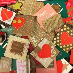 Valentines Day Cards scattered on a table