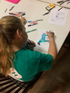 youth coloring in parts of horse diagram