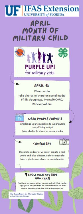 Purple flyer telling about month of military child