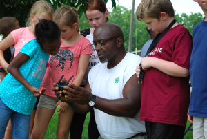 John teaching youth about drones