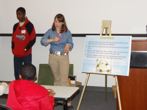 "Jefferson County Teen Council member Allison Cone teaching a class at 4-H Blitz entitled ""Electro-Juice"" ."