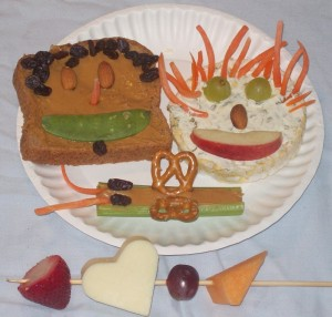 Plate and skewer of healthy, fun snacks