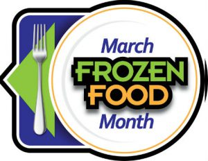 "words ""March Frozen Food Month"" on a plate with fork and folded napkin to left all on a placemat"
