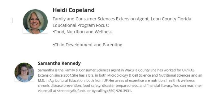 Picture, name, and bio of UF FCS agents: Heidi Copeland and Samantha Kennedy