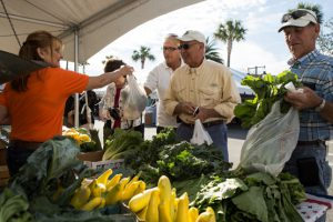 farmers market with produce