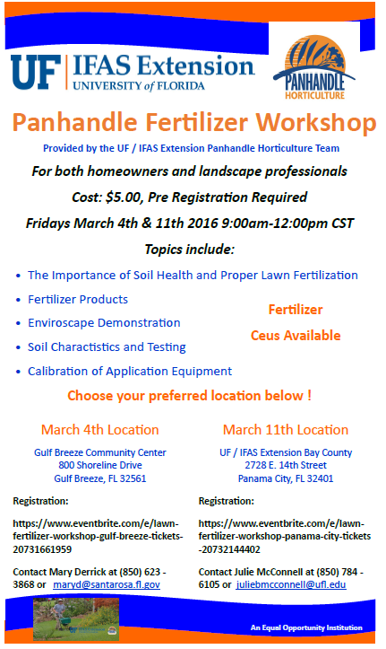 Cancelled – Panhandle Turf Fertilization Workshops March 4th and 11th