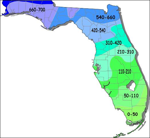 florida map of temperatures