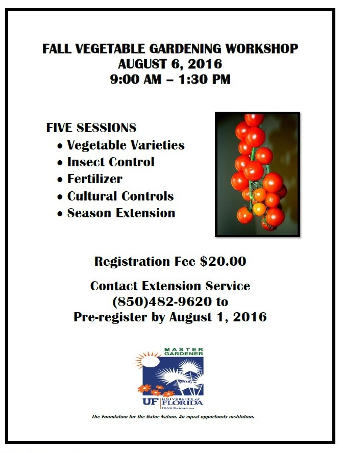 Fall Vegetable Gardening Workshop August 6