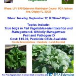 Fall Vegetable Production Workshop – Combating Insect Pests September 12, 2017