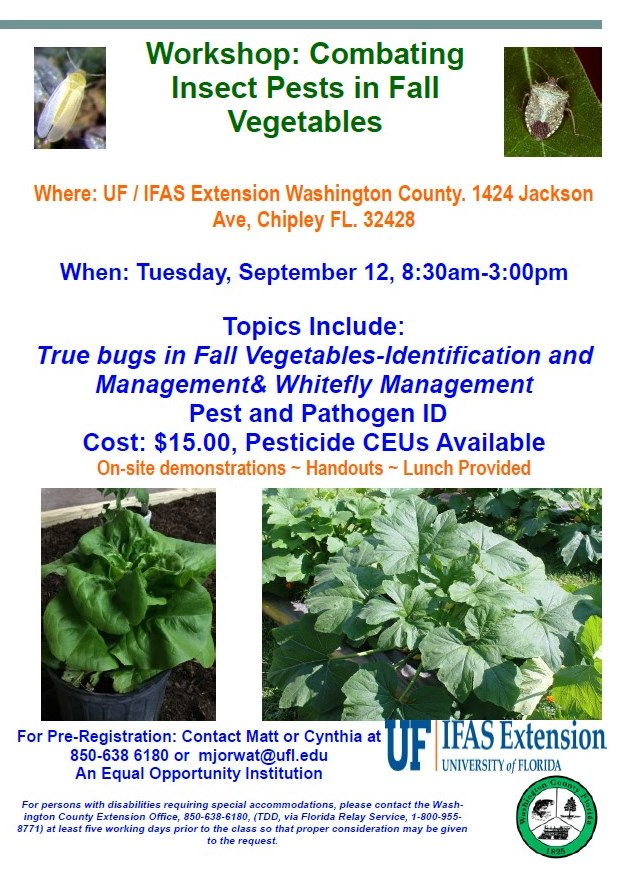 CANCELLED ! Fall Vegetable Production Workshop – Combating Insect Pests September 12, 2017