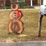 Tree debris snowman