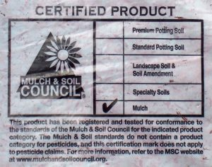 Label fro bag of mulch