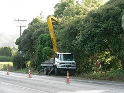 Utility tree trimming truck