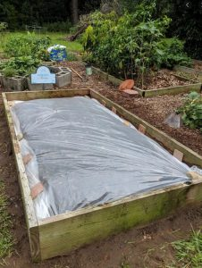 Picture of raised bed garden covered in plastic.