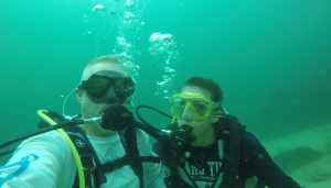 Bill and Julie McConnell diving at St. Andrews State Park. 2019