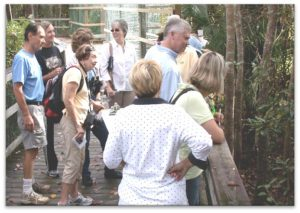 Larry teaching Master Gardener Volunteers outdoors at Turkey Creek in Niceville, FL