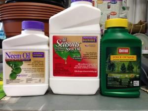 horticultural oil and neem oil bottles