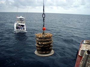 Picture of a boat and an ecosystem artificial reef