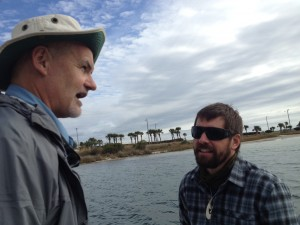 Captain Robert Turpin, Escambia County Marine Resources, discusses seagrass preservation in Little Sabine Bay with Justin Riney.
