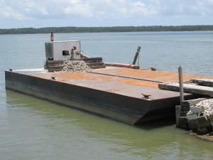 Barges will also be used to relay shells for replenishing oyster habitat.