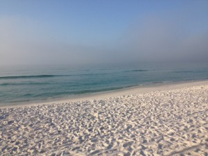Fog rolling over the Gulf of Mexico in the early morning.
