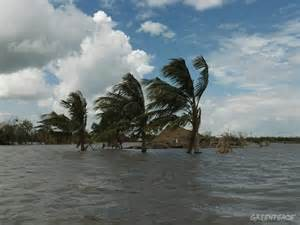 Islands in the south Pacific who are dealing with the impacts of sea level rise during storm events. Photo: Greenpeace