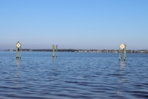 between these pilings at Park West is one of the county snorkel reefs. Visibility is tough but the fish are there.