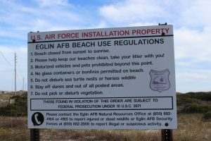 Many feel that you are not allowed on Eglin property. This is true for much of the island under their jurisdiction but there are places where you can park and enjoy the beach - though you must obey their rules.