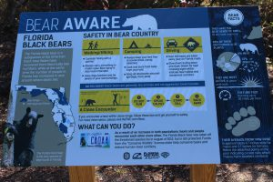 Partly due to successful bear management and partly due to the increase population of humans in the Florida panhandle, bear encounters are in the increase. This sign at Eden Garden State Park provides information on how to deal with an encounter.