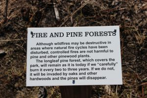 Signage educating the public about the benefits of prescribed burning.