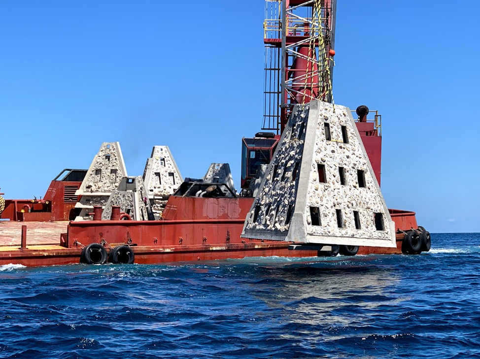 Large Crane Deploying Artificial Reef Concrete Module