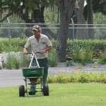 Lawn care service providers applying fertlizer to Florida landscapes are now required to complete best management training. Photo credit: UF IFAS