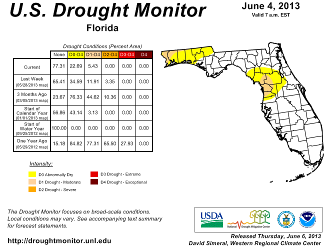 6-4-13 FL Drought Monitor