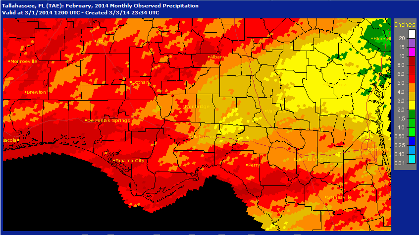 NOAA February 2014 rainfall estimates.