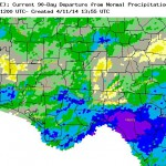 NOAA map showing range of rainfall for the past 90 days compared to normal.
