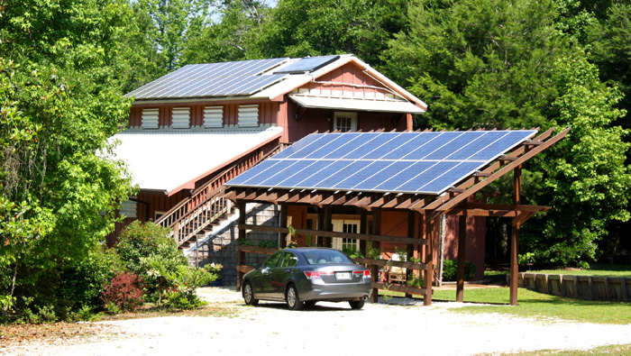Solar units provide electricity for the house and farm.  Photo credit:  Blake Thaxton