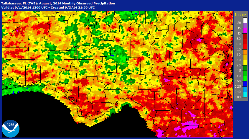 Rainfall estimates for August 2014 provided by the national Weather Service.