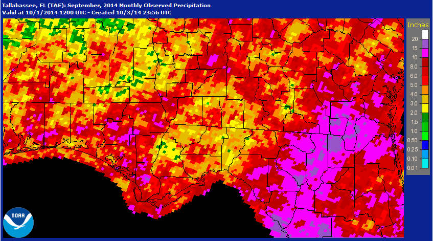 Rainfall estimates for September 2014 provided by the National Weather Service.