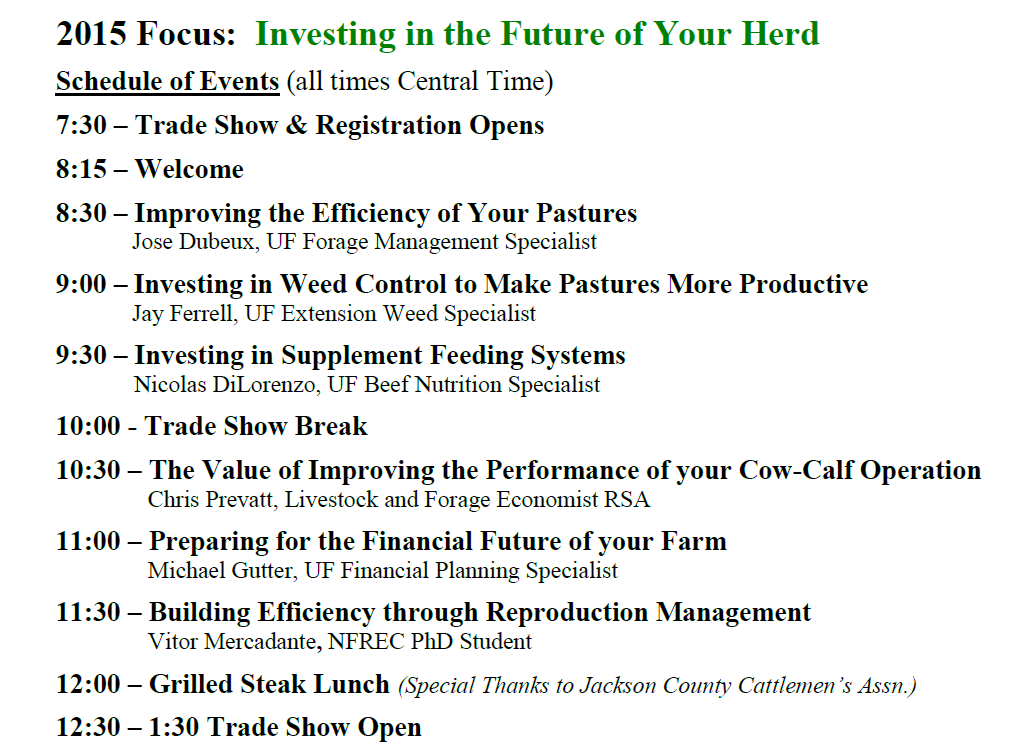 15 Beef Conference Agenda