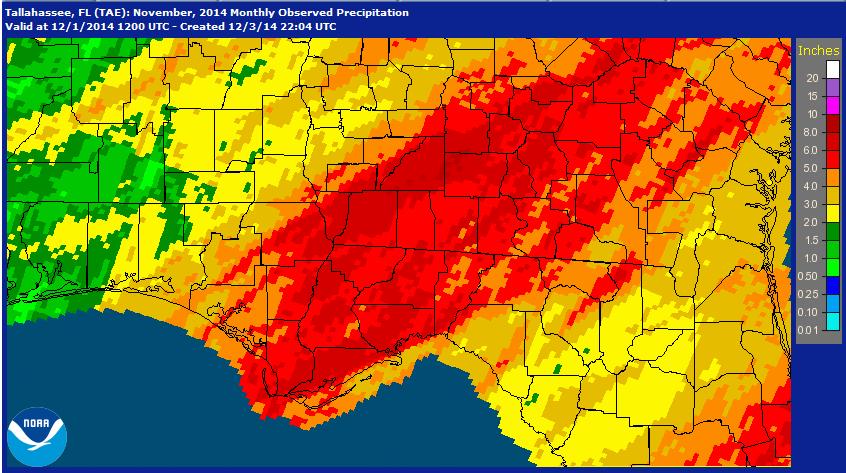 National weather Service estimates for November 2014 Rainfall.