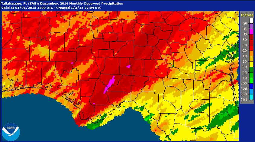 National Weather Service estimates for rainfall in the Florida Panhandle for December 2014.