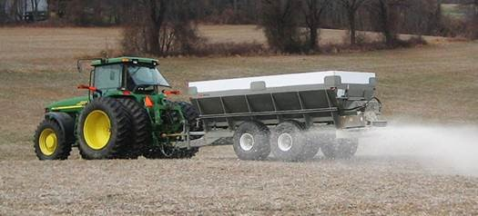 Now may be a good time of year to apply lime to your soil.  Photo credit, Stoltz Mfg., LLC Morgantown, PA