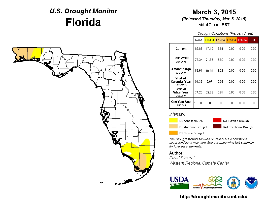March 3 2015 FL Drought Monitor