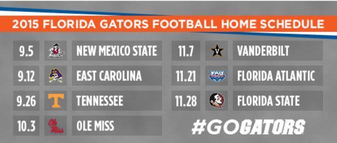 2015 Gator Home Fotball Schedule